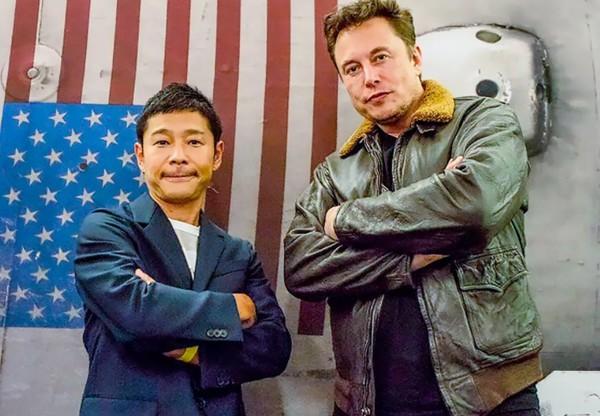 마에자와 유사쿠(왼쪽)과 일론 머스크 (사진=마에자와 유사쿠 트위터)