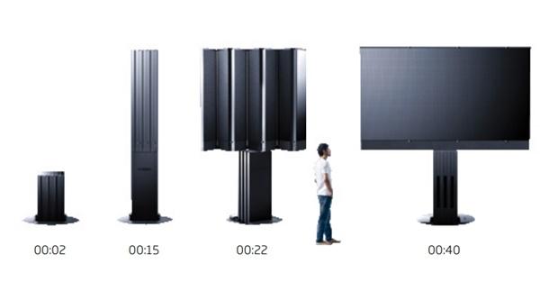 거대한 C시드 M1은 숨겨진 바닥장에서 나와 병풍처럼 펼쳐져 40초만에 거대한 단일 TV화면을 만든다.