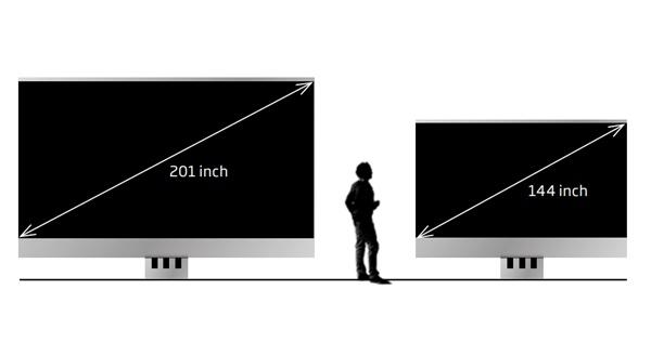 거대한 C시드 마이크로LED TV에는 201인치와 144인치, 그리고 실내용과 실외용이 판매된다.