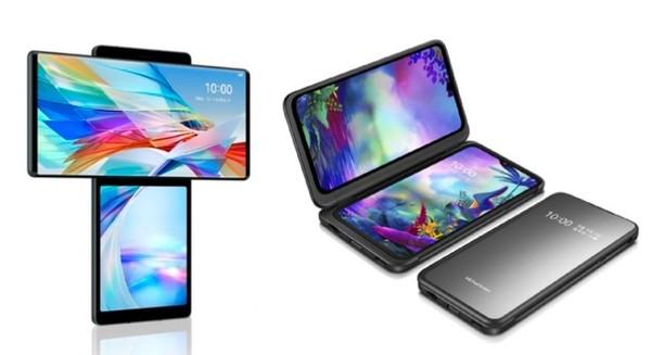 'LG 윙'(왼쪽)과 'V50S 듀얼스크린'(오른쪽). 두 제품 모두 괜찮은 상품성과 스펙, 독창성을 가진 제품이지만 소비자의 마음을 꿰뚫는 마케팅에는 실패했다.