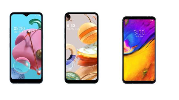 LG전자가 LG 벨벳 대표 UI를 실속형 스마트폰으로 확대 적용한다. 사진은 올 연말까지 LG 벨벳 대표 UI가 적용되는 제품들. 왼쪽부터 LG Q51, LG Q61, LG V35 ThinQ