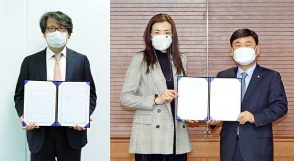 이재석 카페24 대표(왼쪽)와 조현민 (주)한진 마케팅총괄 전무(가운데), 노삼석 (주)한진 대표이사가 온라인 협약에서 기념 촬영을 하고 있다.